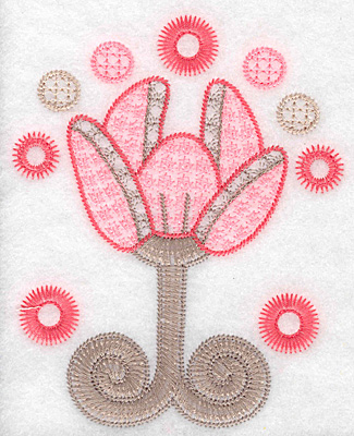"""Embroidery Design: Floral bloom large  5.25""""h x 4.21""""w"""