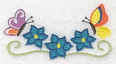 Embroidery Design: Floral trio with butterlies 3.68w X 1.98h