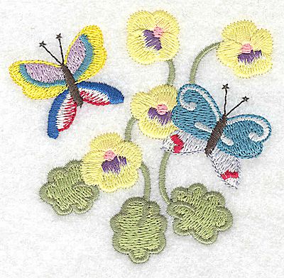 Embroidery Design: Butterflies amid flowers 3.42w X 3.35h