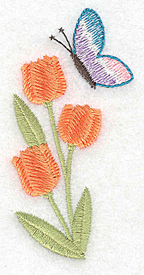 Embroidery Design: Tulip and butterfly 1.68w X 3.31h