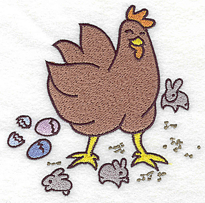 Embroidery Design: Chicken with eggs and bunnies large 4.91w X 4.96h