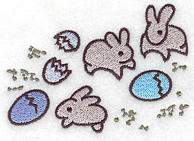 Embroidery Design: Bunnies and eggs small 3.81w X 2.67h