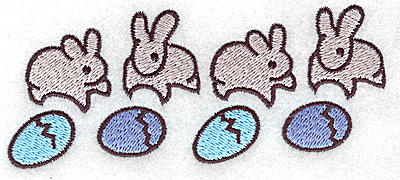 Embroidery Design: Row of bunnies and eggs 4.92w X 2.01h