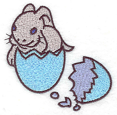 Embroidery Design: Bunny in egg shell small 3.18w X 3.08h