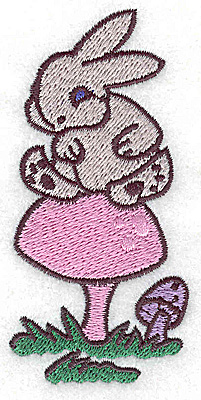 Embroidery Design: Bunny on toadstool small 1.80w X 3.77h
