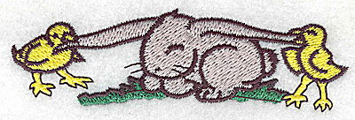 Embroidery Design: Bunny with chicks small 3.89w X 1.17h
