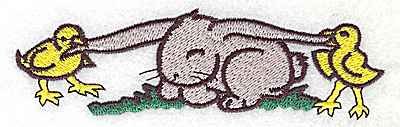 Embroidery Design: Bunny with chicks large 4.98w X 1.50h