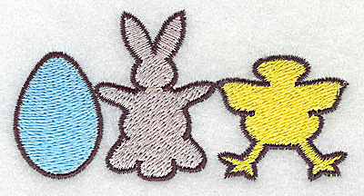 Embroidery Design: Egg bunny chick  3.55w X 1.84h