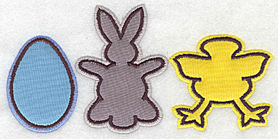 Embroidery Design: Egg bunny chick appliques 6.19w X 3.02h
