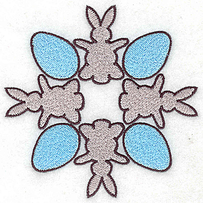Embroidery Design: Four bunnies and eggs 4.40w X 4.40h