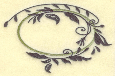 Embroidery Design: Oval vines A large 4.95w X 3.17h