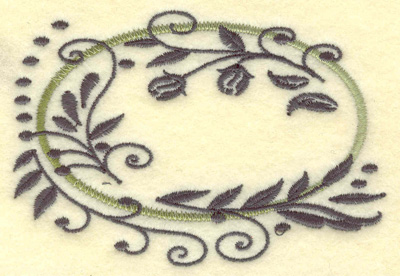 Embroidery Design: Oval Vines D small 3.88w X 2.65h