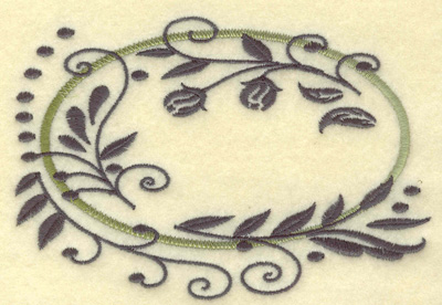 Embroidery Design: Oval Vines D large 4.96w X 3.39h