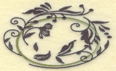 Embroidery Design: Oval Vines H small 3.85w X 2.37h