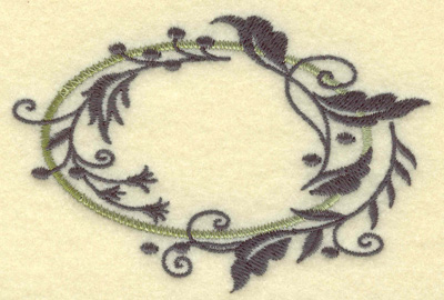 Embroidery Design: Oval Vines I small 3.85w X 2.54h
