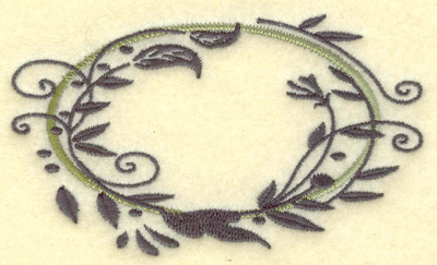 Embroidery Design: Oval Vines J small 3.86w X 2.30h
