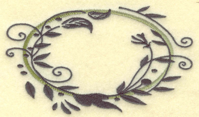 Embroidery Design: Oval Vines J large 4.95w X 2.94h