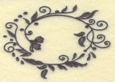 Embroidery Design: Oval Vines B single color 3.84w X 2.63h