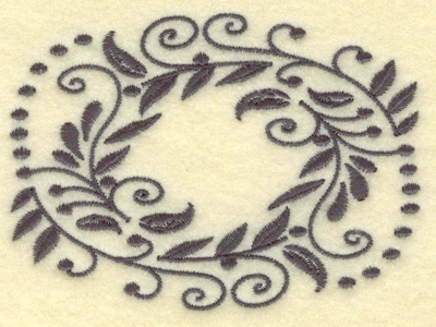 Embroidery Design: Oval Vines D single color 3.88w X 2.82h