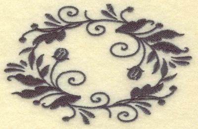 Embroidery Design: Oval Vines E single color 3.85w X 2.48h
