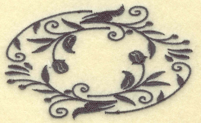 Embroidery Design: Oval Vines G single color 3.85w X 2.43h