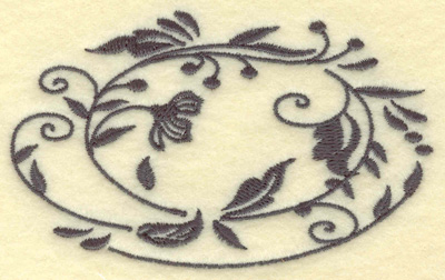 Embroidery Design: Oval Vines H single color 3.85w X 2.37h