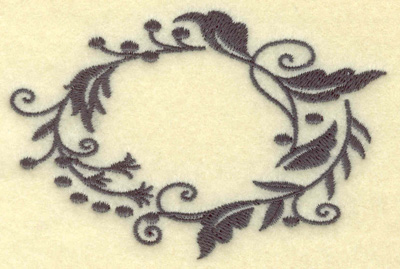 Embroidery Design: Oval Vines I single color 3.87w X 2.55h