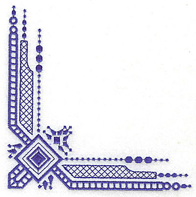 Embroidery Design: Elegant corner 2 large 4.99w X 4.99h