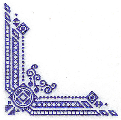 Embroidery Design: Elegant corner 9 small 3.85w X 3.85h
