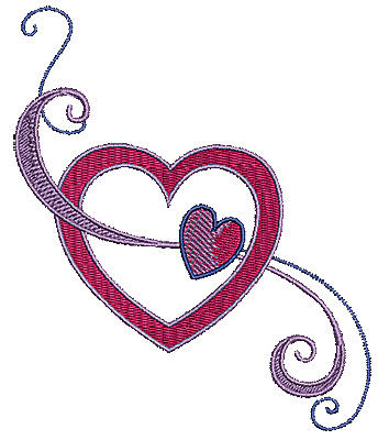 Embroidery Design: Hearts with swirls 1 4.25w X 5.04h
