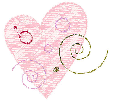 Embroidery Design: Heart with swirls 3 2.83w X 2.62h