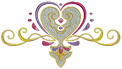 Embroidery Design: Heart with swirls 4 6.49w X 3.56h