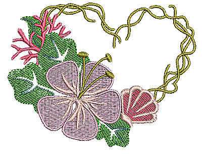 Embroidery Design: Heart with flower 4.25w X 3.24h