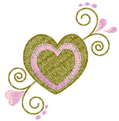 Embroidery Design: Heart with swirls 5 5.00w X 5.23h