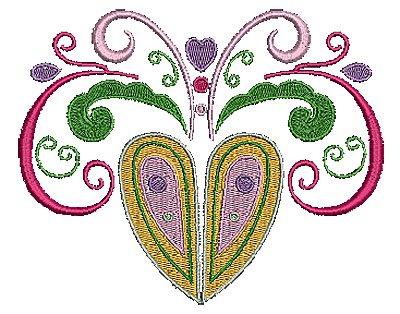 Embroidery Design: Heart with swirls 6 6.16w X 4.96h