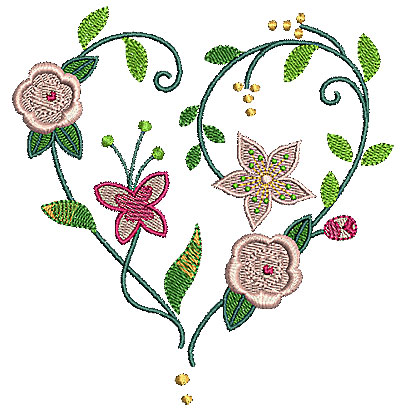 Embroidery Design: Heart floral 4.96w X 5.16h