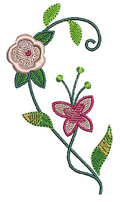 Embroidery Design: Heart half floral 1 2.46w X 4.44h