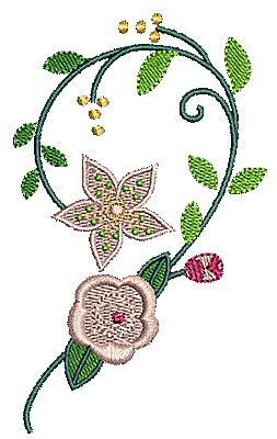 Embroidery Design: Heart half floral 2 2.78w X 4.60h