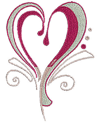 Embroidery Design: Heart with swirls 8 4.86w X 6.49h