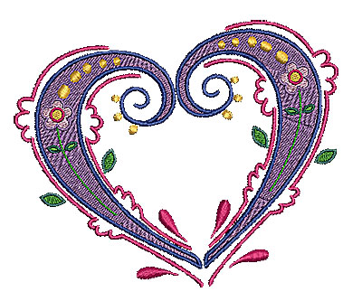 Embroidery Design: Heart 12 5.44w X 4.45h