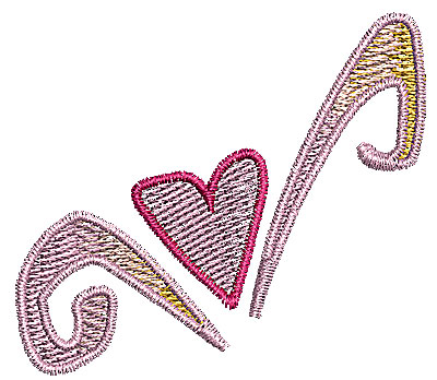 Embroidery Design: Heart with swirls 9 2.16w X 1.91h