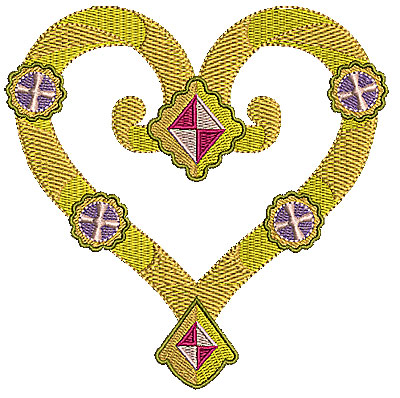 Embroidery Design: Heart with diamonds 4.96w X 4.94h