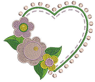 Embroidery Design: Heart with flowers 4.48w X 3.99h