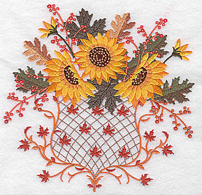 Embroidery Design: Sunflower trio 6.96w X 6.85h