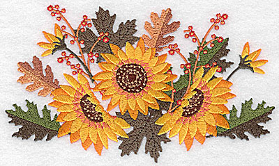 Embroidery Design: Sunflowers and berries 6.61w X 3.99h
