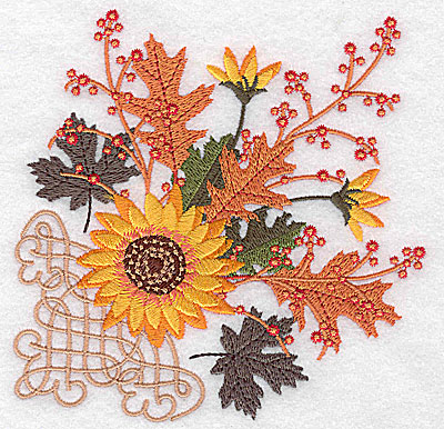 Embroidery Design: Sunflower and leaves with design 4.96w X 4.97h