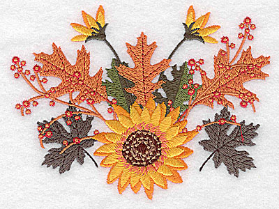 Embroidery Design: Sunflower and leaves 4.97w X 3.80h