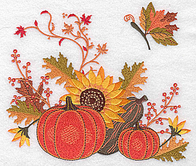 Embroidery Design: Pumpkins gourd and sunflower 6.93w X 6.01h