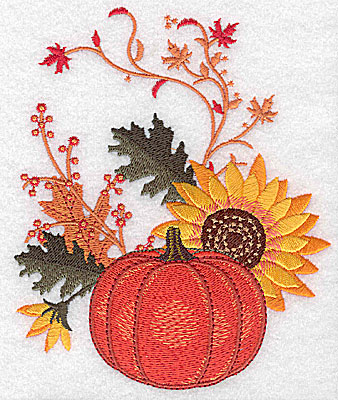 Embroidery Design: Pumpkin and sunflower 4.67w X 5.63h