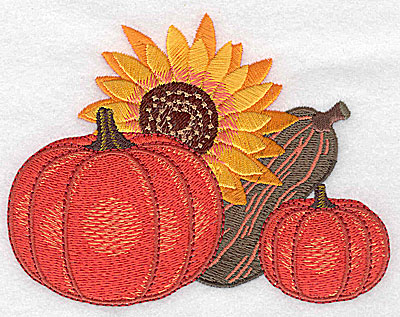 Embroidery Design: Sunflower pumpkins and gourd 4.97w X 3.83h